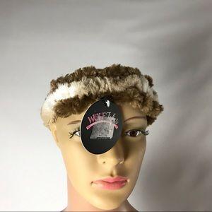 New Wolf Tales Fur Headband Size L Tan White Brown
